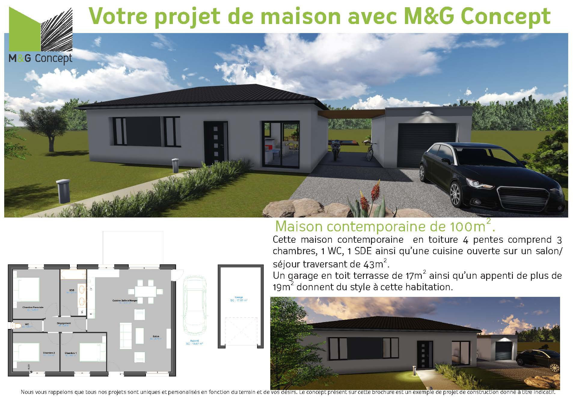 Projet de construction d 39 une maison contemporaine t4 t5 for Projet construction maison